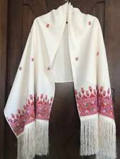 Handmade Embroidery Palestinian folklore Heritage rectangle Shawl Off white &Red