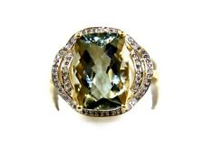 Huge Radiant Green Amethyst Lady's Ring w/Diamond Halo 14k Yellow Gold 7.40Ct