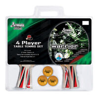 Formula WARRIOR 4 Player Table Tennis Ping Pong Set 4 Bats 3 Balls 2 Star VALUE