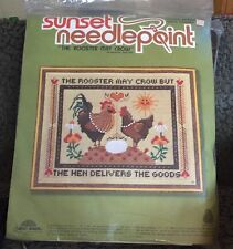 New Vintage Sunset Needlepoint KIT #6960 The Rooster May Crow 1981 Long stitch