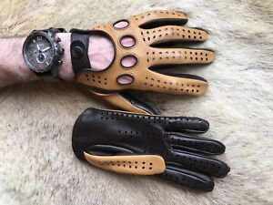 Driving Gloves For Men's Lambskin Leather Soft Car Gloves for Drive Tan Brown