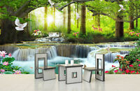 3D Waterfall Bird Landscape Self-adhesive Living Room Wallpaper Wall Mural Decor
