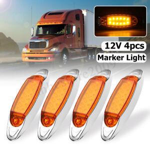 4Pcs 12 LED Front Side Marker Indicator Light Truck Trailer Lorry Caravan 12V