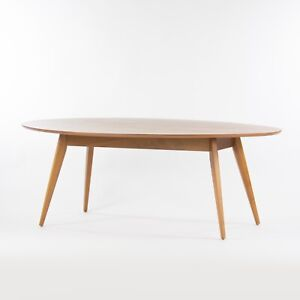 Custom Jens Risom Knoll 78 in Oval Walnut Dining Conference Table Saarinen Tulip