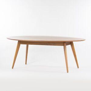 Custom Jens Risom Knoll 78 in Oval Walnut Dining Conference Table Saarinen Tulip