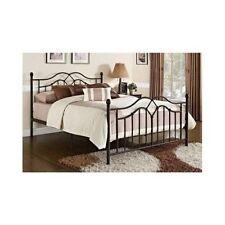 Full Size Bed Frame Bronze Metal Footboard Headboard Modern Bedroom Furniture