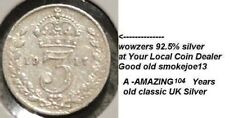 1917 British UK King George V Threepence coin 92.5% silver Age 104 years KM#813.