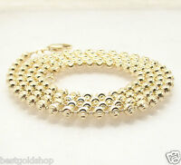 4mm Solid Half Moon Diamond Cut Bead Ball Chain Necklace REAL 10K Yellow Gold