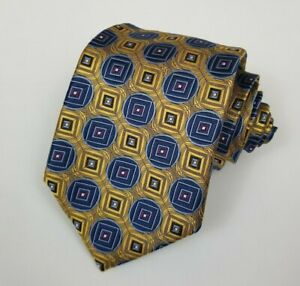 NWT Jos A Bank Signature Collection 100% Silk Mens Necktie Geometric Gold Blue