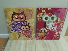 TWO BRAND NEW WALL PRINTS CANVAS. OWLS HOME,HANGING,DISPLAY,FRENCH PROVINCIAL