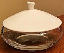 Chef & Sommelier Purity Clear Glass Bowl & White Lid by Arc Cardinal 21 oz 6.25""