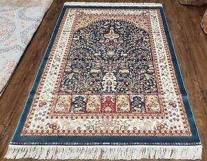 4x6 Silk Carpet Royal Blue & Cream/Beige Tree of Life Rug Deer Birds Bamboo Silk