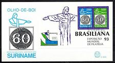 Suriname - 1993 Stamp exhibition Brasiliana - Mi. Bl. 60 clean FDC