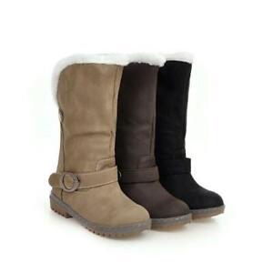 Winter Women Round Toe Low Heels Mid-calf Boots Thicken Warm High Top 44/46 D