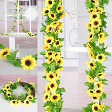 2.6M Artificial Sunflower Garland Fake Flowers Ivy Silk Leaf Plant Home Decor SH