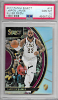 2017/18 PANINI SELECT LEBRON JAMES SILVER PRIZM PSA 10 GEM MINT #18  LAKERS