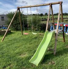 Kids Wooden swing set with slide