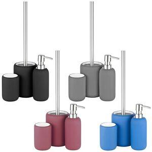 3pcs Ceramic Matt Colour Matching Bathroom Dispenser Tumbler Toilet Brush Set