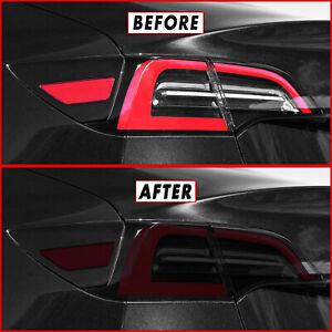 FOR 17-21 Tesla Model 3 Tail Light & Rear Reflector SMOKE Vinyl Tint Overlay