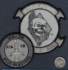 Set Of 2 VFA-34 BLUE BLASTERS US NAVY F-18 HORNET Subdued Fighter Squadron Patch
