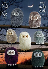 King Cole Deluxe Fur & DK Knitting Pattern 9024: Owls