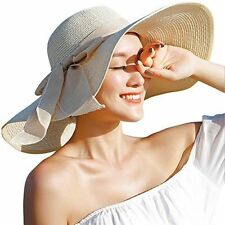Women's Big Bowknot Straw Hat Summer Cap Brim Sun Lady Wide Sunhat Beach UPF 50+
