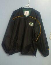 Green Bay Packers Mens Black Football Windbreaker!! Size Large!!