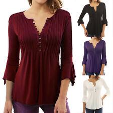 AU 8-24 Women Autumn Flare 3/4 Sleeve Slim V Neck Buttons Blouse Tops Shirt Tee