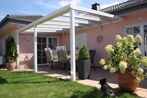 Terrassendach Alu 10 mm VSG klar Terrassenüberdachung 4 m breit Glas Carport