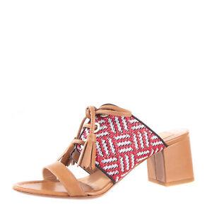 RRP €195 KALLISTE Leather & Raffia Mule Sandals Size 36 UK 3 US 6 Heel Tassels