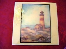 """Ceramic Tile- """"QUIET HARBOR"""" By Sherry Masters - Lighthouse By The Seaside"""