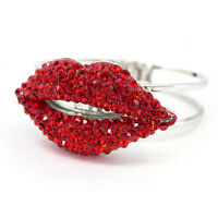 Unique Twinkling Big Red Lip Czech Crystal Bangle