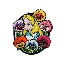 Alice in Wonderland Flowers Iron On Patch Disney Cartoon Embroidered Applique