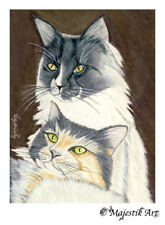 "Maine Coon Norwegian Forest Cat Animal ACEO Print ""Forever"" By V Kenworthy"
