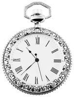 Taschenuhr Weiß Silber Analog Quarz Metall Römische Ziffern D-60547185592575
