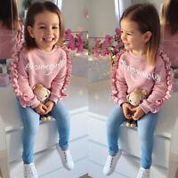 Toddler Baby Girls Winter Outfits Cotton Clothes Tops+Jeans Denim Pants 2PCS Set