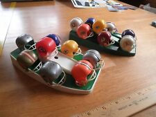 1970's NFL Football helmet display w/ 2 stands mini Packers Seahawks Raiders