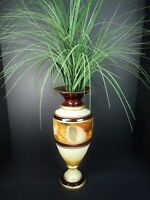 """Painted Glass Art Deco Vase 15"""" Urn Brown & Cream Green Decor Accent Greenery"""