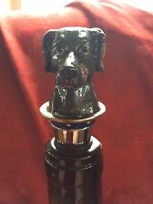 New Stunning Bombay Brown Enameled Dog With Jewels Wine Bottle Stopper Cork