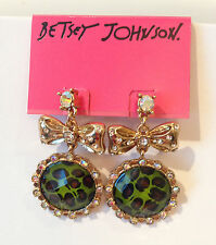 NWT Betsey Johnson Green Leopard and Gold drop Dangle Bow Earrings w/ crystals