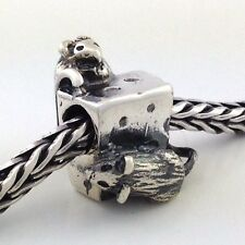 Authentic Trollbeads Sterling Silver Mice on Cheese Bead Charm 11410