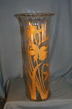 grand vase en verre art nouveau 1900 décor floral