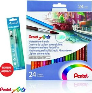 24 Colours Pentel Watercolour Pencils Set + Water Brush Pen Colouring School Art