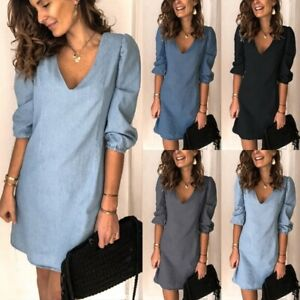 Womens Casual Half Sleeve V-Neck Denim Blue Black Grey Short Sheath Dress S-3XL