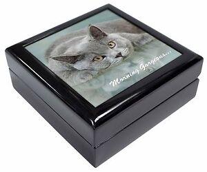 British Blue Cat 'Morning Gorgeous' Keepsake/Jewellery Box Christmas Gi, MG-11JB