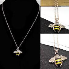 Women Rhinestone Yellow Bee Pendant Animal Bumblebee Long Necklace Gift
