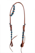Western Natural One Ear Rawhide Braided Headstall with Leather Ties