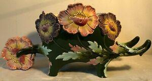 Antico vaso ceramica- cachepot decoro floreale /Liberty forma cariola barbotine