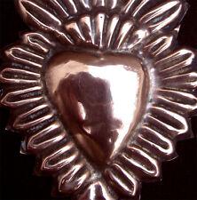 OLD  COPPER EX VOTO SACRED HEART  19thC