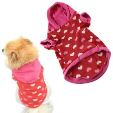 DOG JUMPER HOODY CHIHUAHUA YORKIE PUPPY TOY JACK PINK RED HEARTS 19CM XS